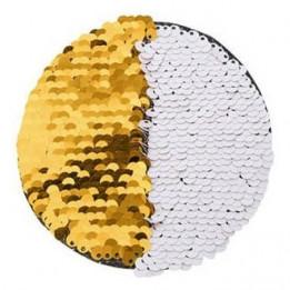 Ecusson thermocollant or à sequins réversibles blancs forme rond Ø 10 cm (vendu à l'unité)