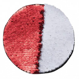 Ecusson thermocollant rouge à sequins réversibles blancs forme rond Ø 10 cm (vendu à l'unité)