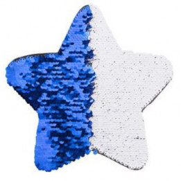 Ecusson thermocollant bleu royal à sequins réversibles blancs forme étoile 18 x 18 cm (vendu à l'unité)