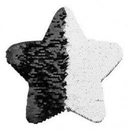 Ecusson thermocollant noir à sequins réversibles blancs forme étoile 18 x 18 cm (vendu à l'unité)