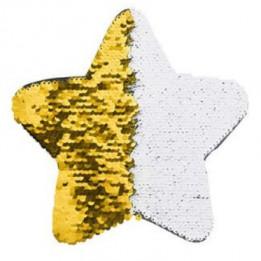 Ecusson thermocollant or à sequins réversibles blancs forme étoile 18 x 18 cm (vendu à l'unité)