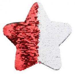 Ecusson thermocollant rouge à sequins réversibles blancs forme étoile 18 x 18 cm (vendu à l'unité)