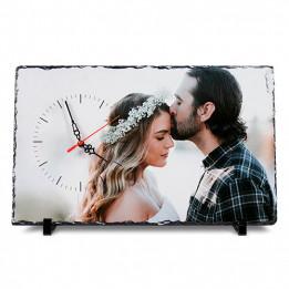Horloge de table en ardoise brillant rectangulaire 25 x 40 cm épaisseur 10 mm (vendu à l'unité)