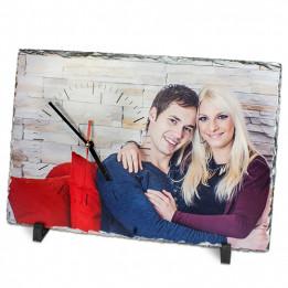 Horloge de table en ardoise mat rectangulaire 25 x 40 cm épaisseur 10 mm (vendu à l'unité)