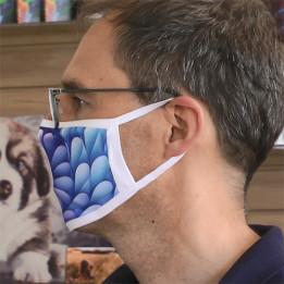 Masque respiratoire blanc 100% polyester extérieur 80% coton intérieur taille L 19 x 12 cm (vendu à l'unité)