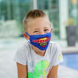 Masque respiratoire blanc 100% polyester extérieur 80% coton intérieur taille enfant jusqu'à 4 ans 13,5 x 7,5 cm (vendu à l'unité)