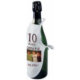 Mini tablier de bouteille en tissu blanc 100% polyester 13,5 x 23,5 cm (vendu à l'unité)