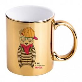 Mug en céramique avec revêtement en métal chromé coloris or Ø 8,2 cm