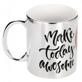 Mug en céramique avec revêtement en métal chromé coloris argent Ø 8,2 cm