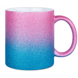 Mug en céramique Glitter (pailletés) avec dégradé de couleurs bleu/rose