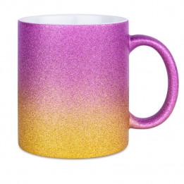 Mug en céramique Glitter (pailletés) avec dégradé de couleurs or/violet
