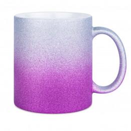 Mug en céramique Glitter (pailletés) avec dégradé de couleurs violet/argent