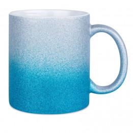 Mug en céramique Glitter (pailletés) avec dégradé de couleurs bleu/argent