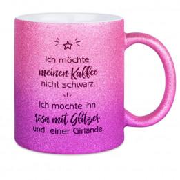 Mug en céramique Glitter (pailletés) avec dégradé de couleurs rose/violet