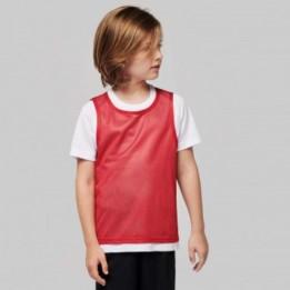 Chasuble enfant sportif 100% polyester maille en filet - 2 tailles - 9 coloris