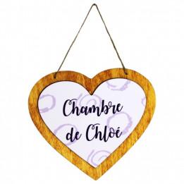 Pancarte en bois à suspendre forme cœur avec plaque HDF personnalisable (vendu à l'unité)