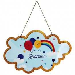 Pancarte en bois à suspendre forme nuage avec plaque HDF personnalisable (vendu à l'unité)