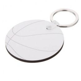 Porte-clé en MDF ballon de basket Ø 5,5 cm (vendu à l'unité)