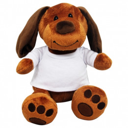 Peluche Chien marron avec mini tee-shirt (vendu à l'unité)