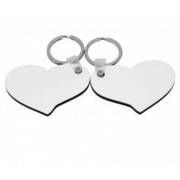 Porte-clé en MDF blanc brillant 2 coeurs (vendu à l'unité)