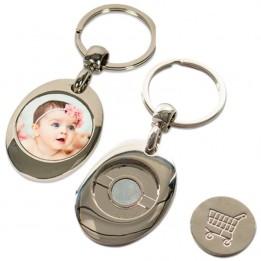 Porte-clé en métal argenté rond sublimable avec jeton de caddie 3 x 8,5 cm (vendu à l'unité)