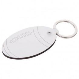Porte-clé en MDF ballon de rugby 4 x 4,5 cm (vendu à l'unité)