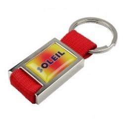 Porte-clé métal chromé en textile avec marquage doming