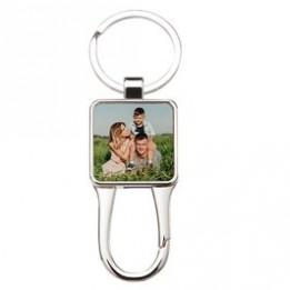 Porte-clé en métal luxe argenté carré avec mousqueton 3 x 7 cm (vendu à l'unité)
