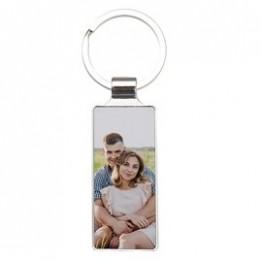 Porte-clé en métal luxe argenté rectangle 2,4 x 6,5 cm (vendu à l'unité)