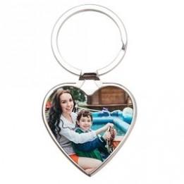Porte-clé en métal luxe argenté cœur 4 x 3,8 cm (vendu à l'unité)