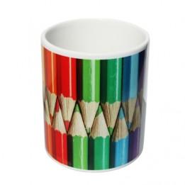 Pot à crayon blanc intérieur blanc H 9,7 cm Ø 7,4 cm