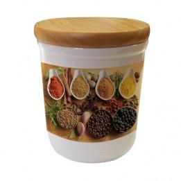 Pot en céramique avec couvercle hermétique en bois