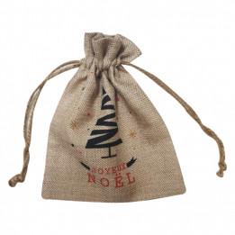 Sac pour cadeaux en tissu imitation chanvre beige - 17 x 21 cm (vendu à l'unité)