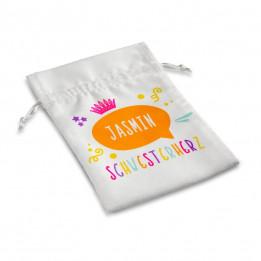 Sac blanc avec cordelettes Sublistar® pour cadeaux 9 x 14 cm (vendu à l'unité)