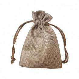 Sac pour cadeaux en tissu imitation chanvre beige - 12 x 17 cm (vendu à l'unité)
