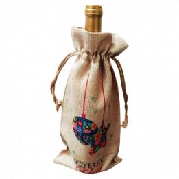 Sac pour bouteille en tissu imitation chanvre beige - 17 x 34 cm (vendu à l'unité)