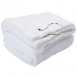 Serviette de golf blanche velours 40 x 53 cm avec crochet métal (vendu par 2 pièces)