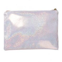 Trousse à maquillage glitter pailletée coloris champagne 23 x 16,5 cm (vendu à l'unité)