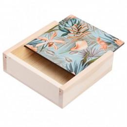Boite en bois 11 x 11 x 3,5 cm avec plaque HDF personnalisable (vendu à l'unité)