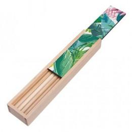 Boite à crayon en bois 20,5 x 4,2 x 2,4 cm avec plaque HDF personnalisable (vendu à l'unité)