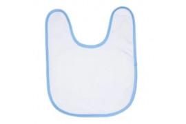 Bavoir éponge 50% coton / 50% polyester blanc bébé bordure bleue ciel (vendu à l'unité)