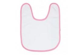 Bavoir éponge 50% coton / 50% polyester blanc bébé bordure rose (vendu à l'unité)