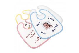 Bavoir bébé bordure couleur 30 x 35 cm - 55 % polyester lisse 45 % coton (vendu à l'unité)