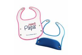 Bavoir pour bébé rose en mousse néoprène sublimable 34,5 x 24 cm (vendu à l'unité)