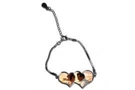 Bracelet en argent métal brillant double coeur (vendu à l'unité)