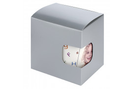Boîte cadeau argentée avec fond à pliage automatique et fenêtre de visualisation 11,5 x 10 x 11 cm
