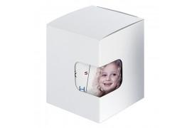 Boîte cadeau blanche avec fond à pliage automatique et fenêtre de visualisation 11,5 x 10 x 11 cm