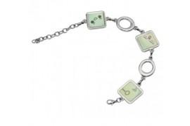 Bracelet fantaisie avec 3 pendentifs carrés en métal argenté