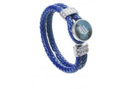 Bracelet tressé en cuir bleu avec plaque aluminium Ø 18 mm (vendu à l'unité)