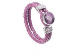 Bracelet tressé en cuir rose avec plaque aluminium Ø 18 mm (vendu à l'unité)